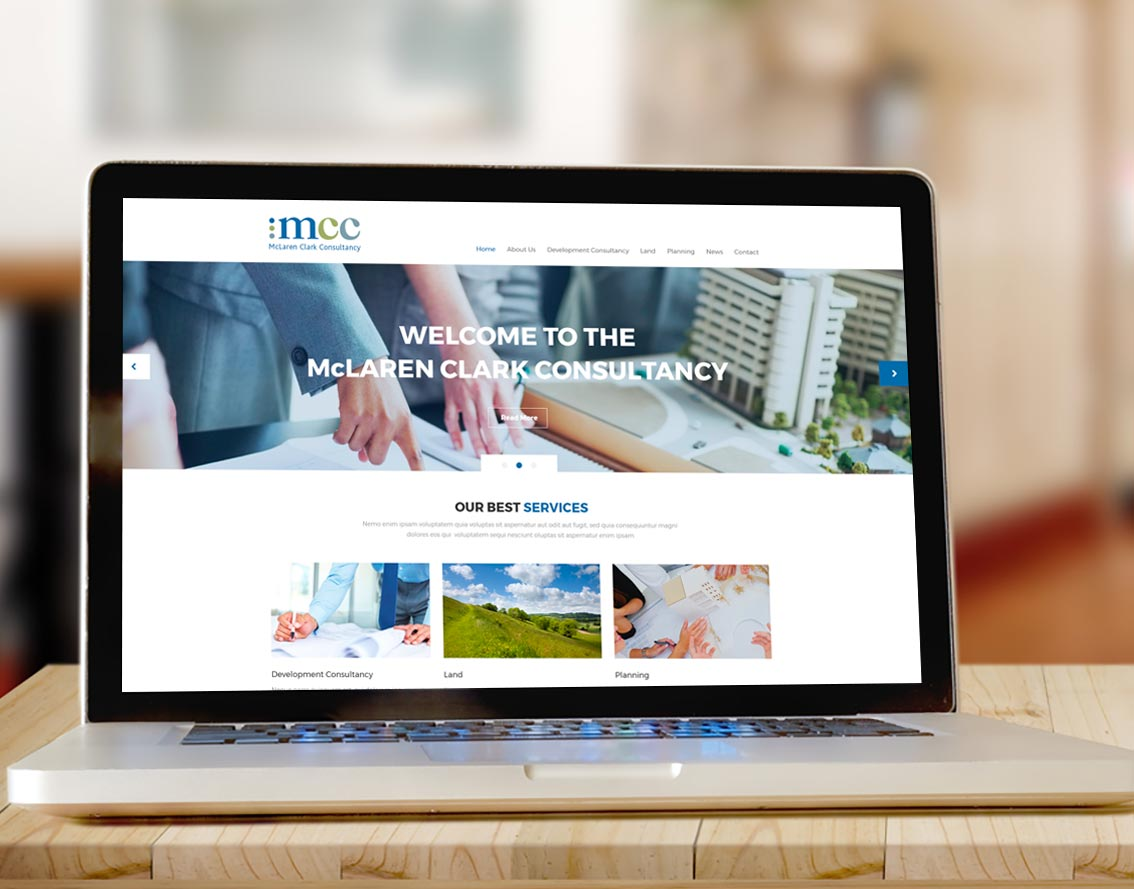 Image shows - Website for The McLaren Clark Consultancy. Content creation and design by Oak Creatives.