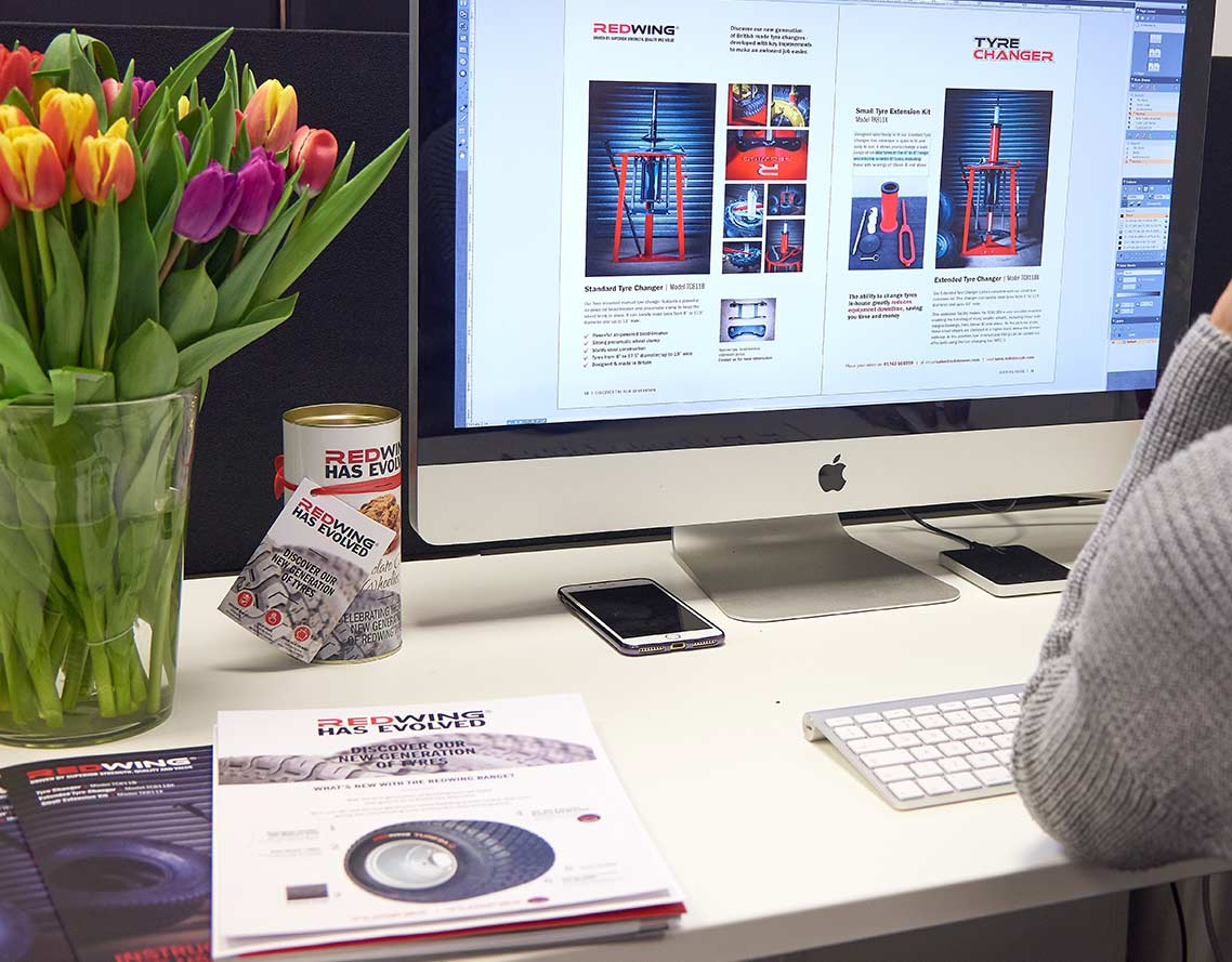 Image shows - Oak Creatives designs for Redstone Tyres.