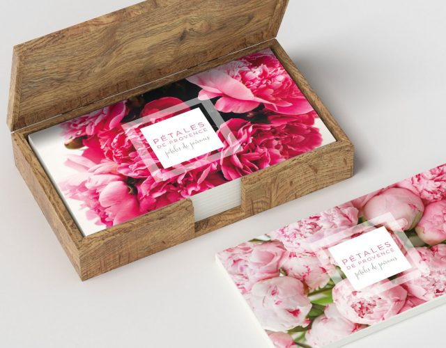 Image shows - Business card for Pétales de Provence. Content creation and design by Oak Creatives.